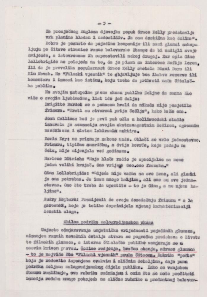 Stranica 3 analize o pisanju časopisa Filmski vjesnik.