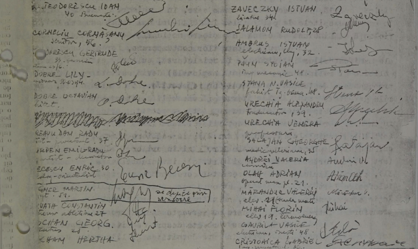 Fragment of the list of signatures endorsing the letter of protest against human rights violations in Romania, 1977