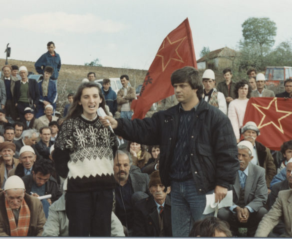 MYRVETE DRESHAJ - ex-political prisoner talking to the Albanian masses.