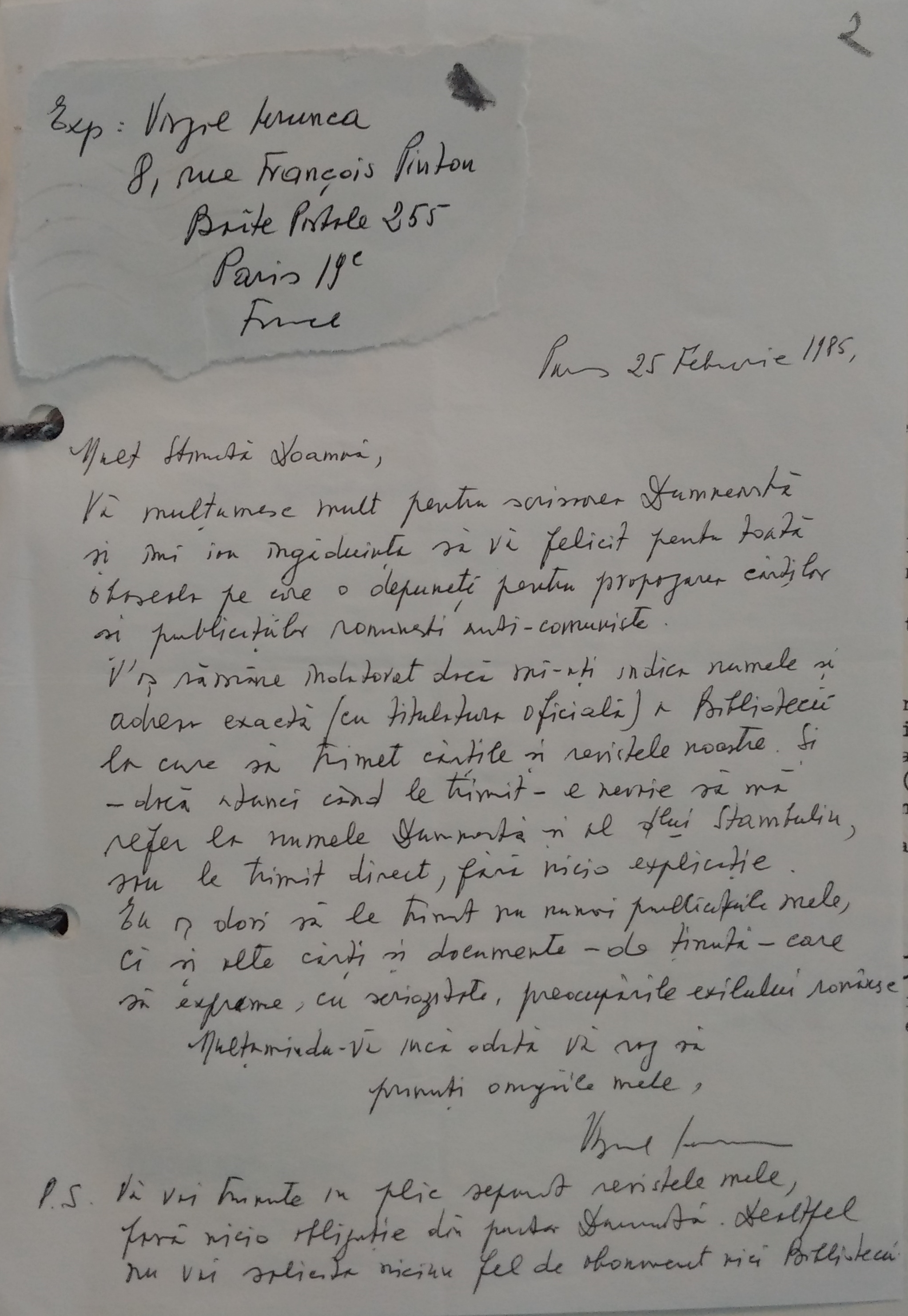 Scrisoare de la Virgil Ierunca pentru Sanda Budiș, 25 februarie 1985