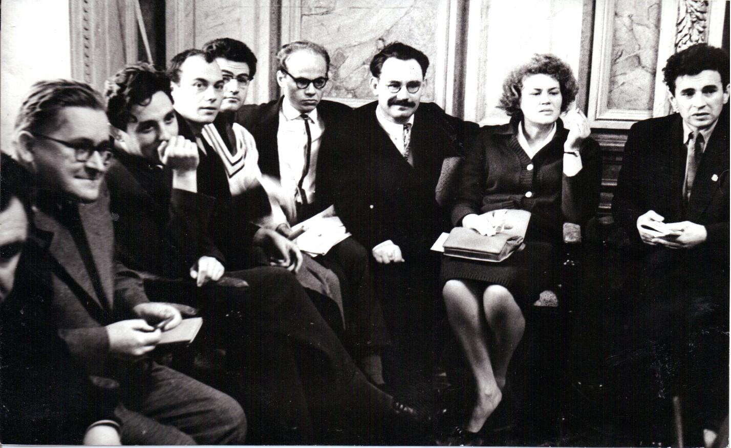 Ivan Dziuba,..., Mykola Vinhranovsky,..., Ivan Drach, Ivan Svitlychny, Lina Kostenko, Yevhen Sverstiuk at the Ukrainian Writers Union, 1960s.