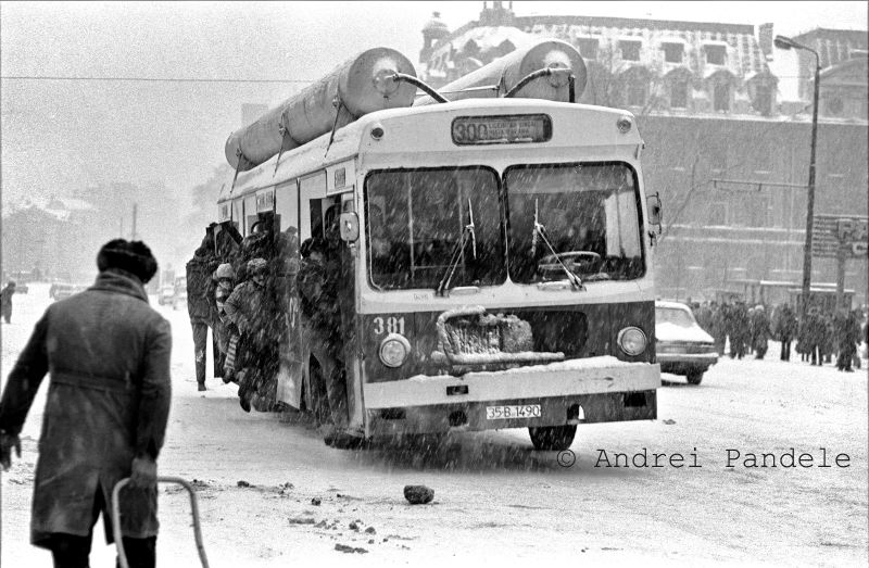 Bucharest center in the winter of 1984, photograph by Andrei Pandele