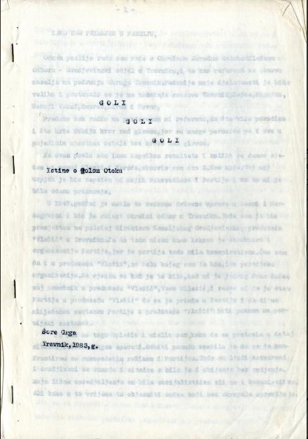 Šore, Grgo. Goli Goli Goli – Istina o Golom otoku, 1983. Rukopis.