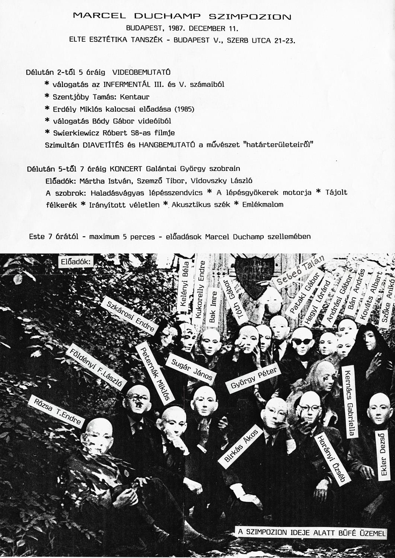 Invitation  for  the Marcel Duchamp Symposion, Department of Aesthetics, ELTE, Budapest, 1987