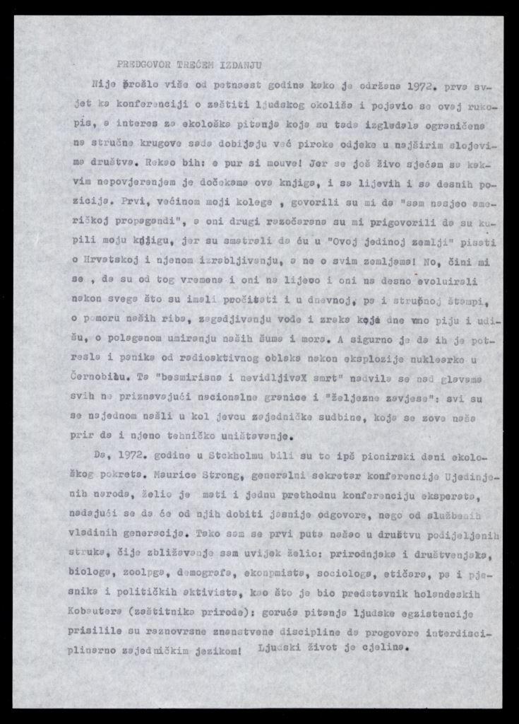 Skica Predgovora trećeg izdanja Supekove knjige Ova jedina zemlja, 1989.