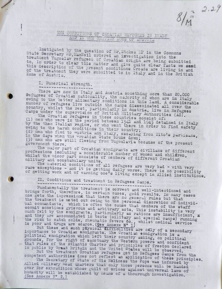 The first page of the report The Conditions od Croatian Refugees in Italy and the British Zone in Austria, 1946.