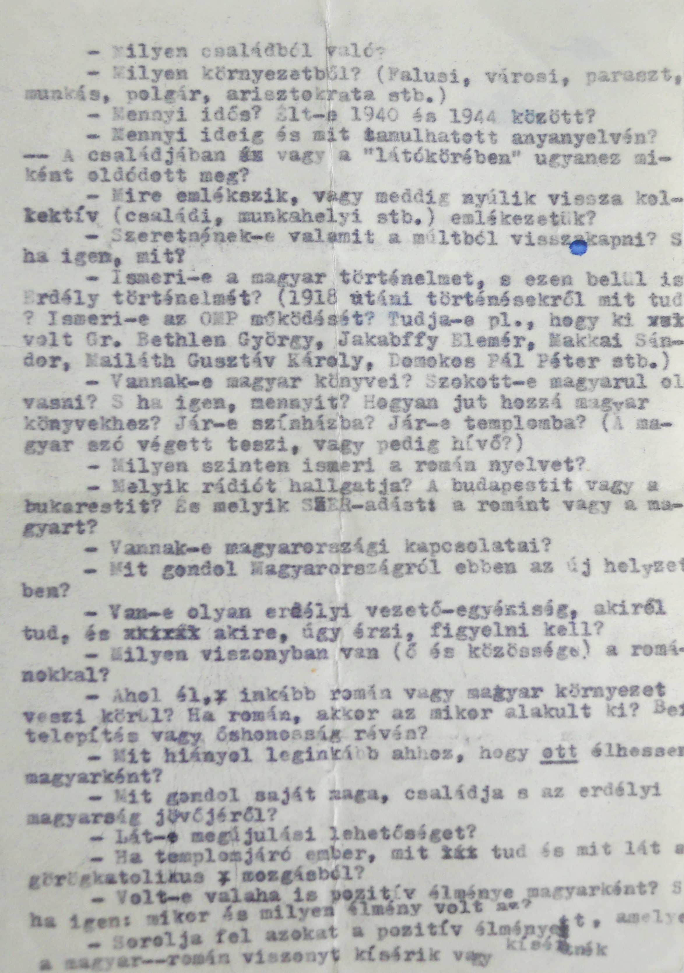 Manuscript of the 'Questionnaire' from Éva Cseke-Gyimesi Collection