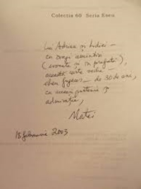 Book dedication to Adrian Marino signed by Matei Călinescu