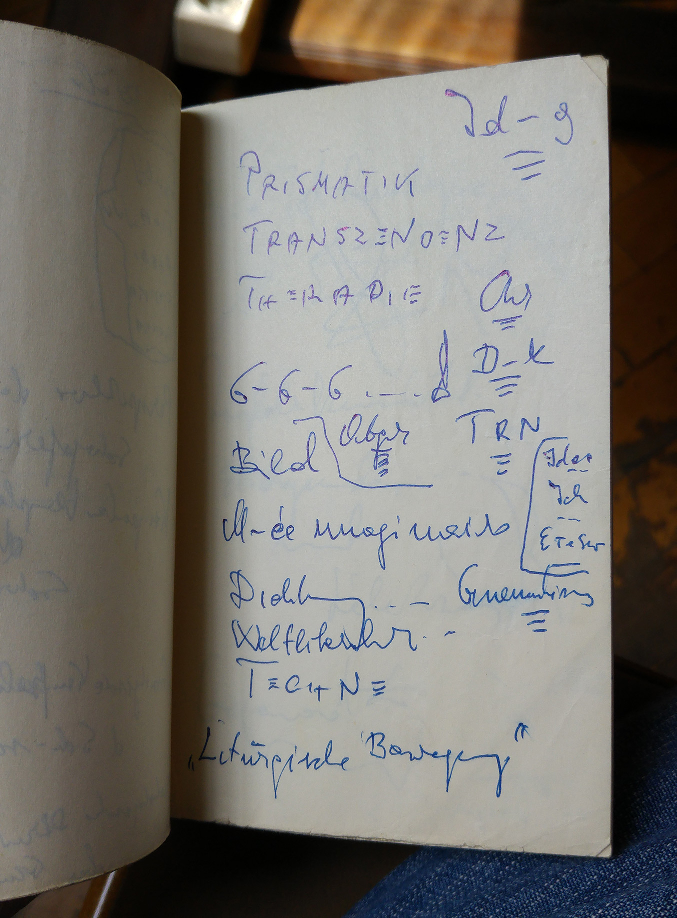 A page from the notebooks of Lajos Szabó created during his emigration years.