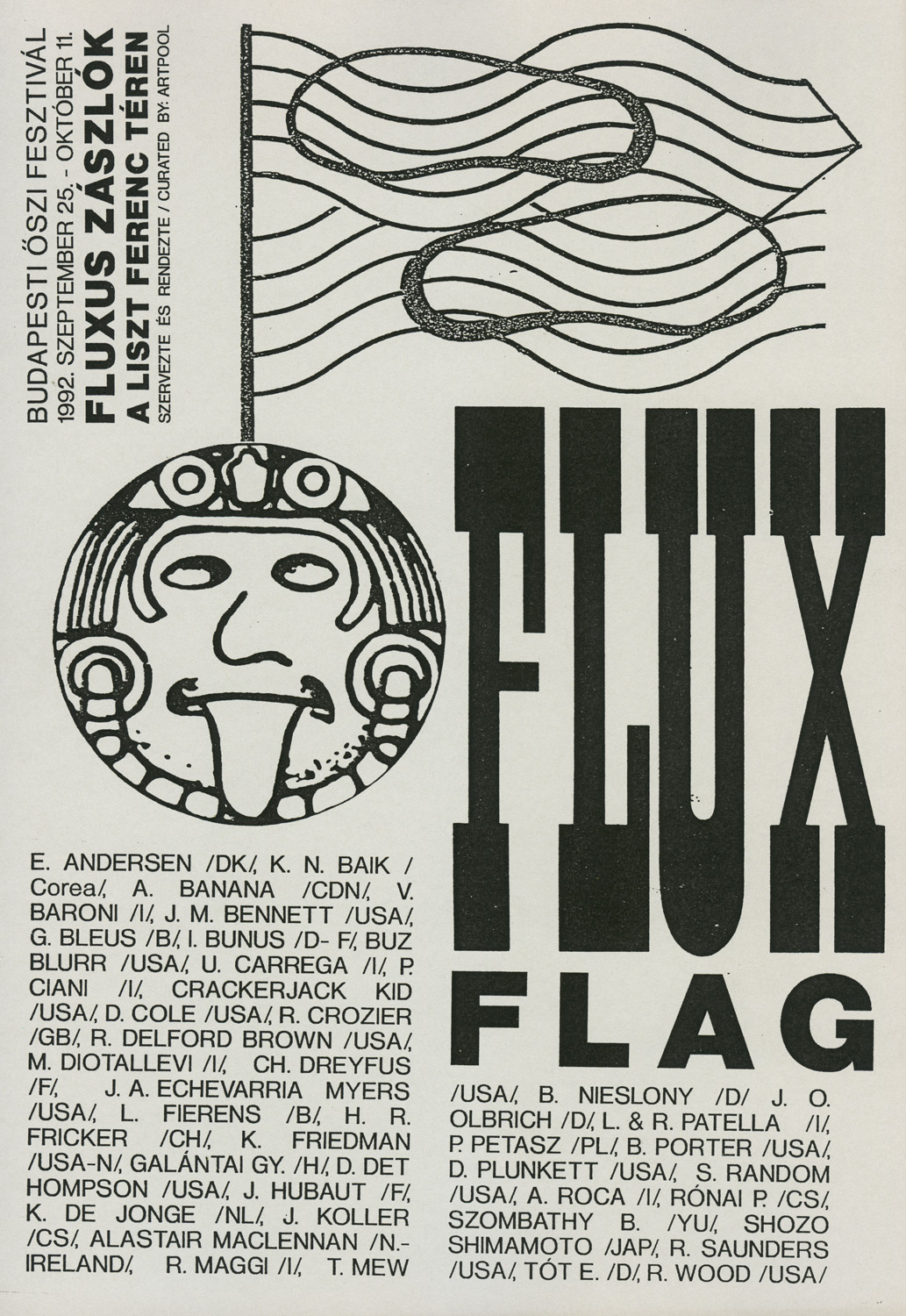 Cover of the bookwork catalogue of the Flux Flag exhibition, Artpool, Budapest, 1992