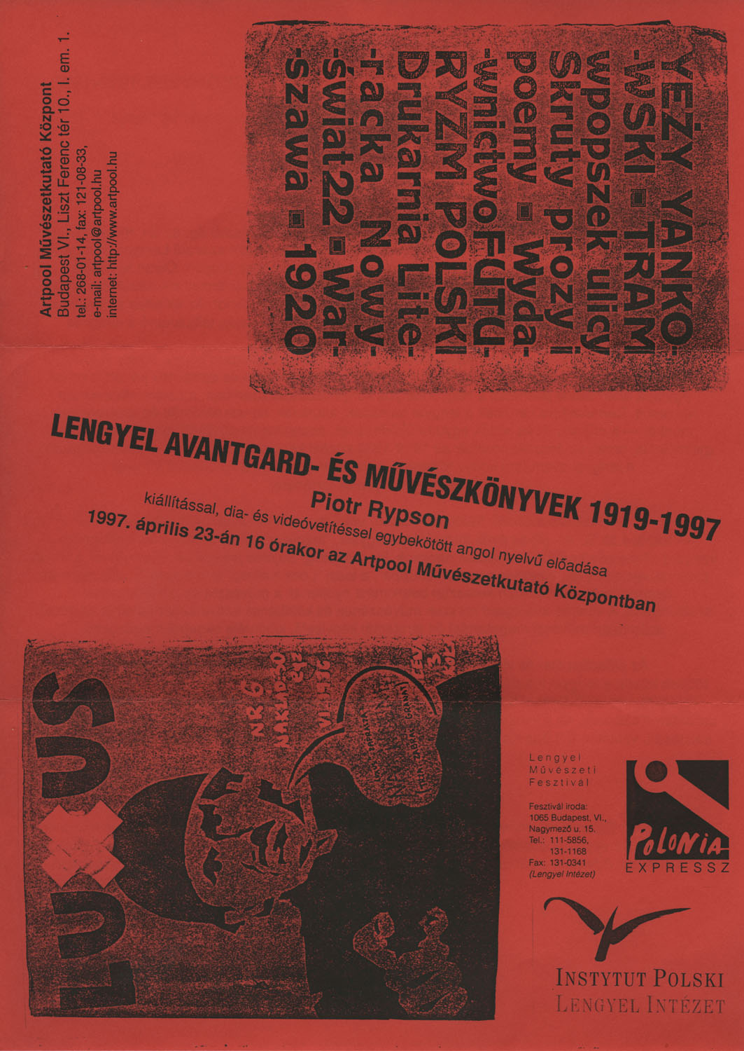 Invitation  for  Avantgarde and Artists' Books in Poland 1919-1997, lecture by Piotr Rypson (1st and 2nd page)