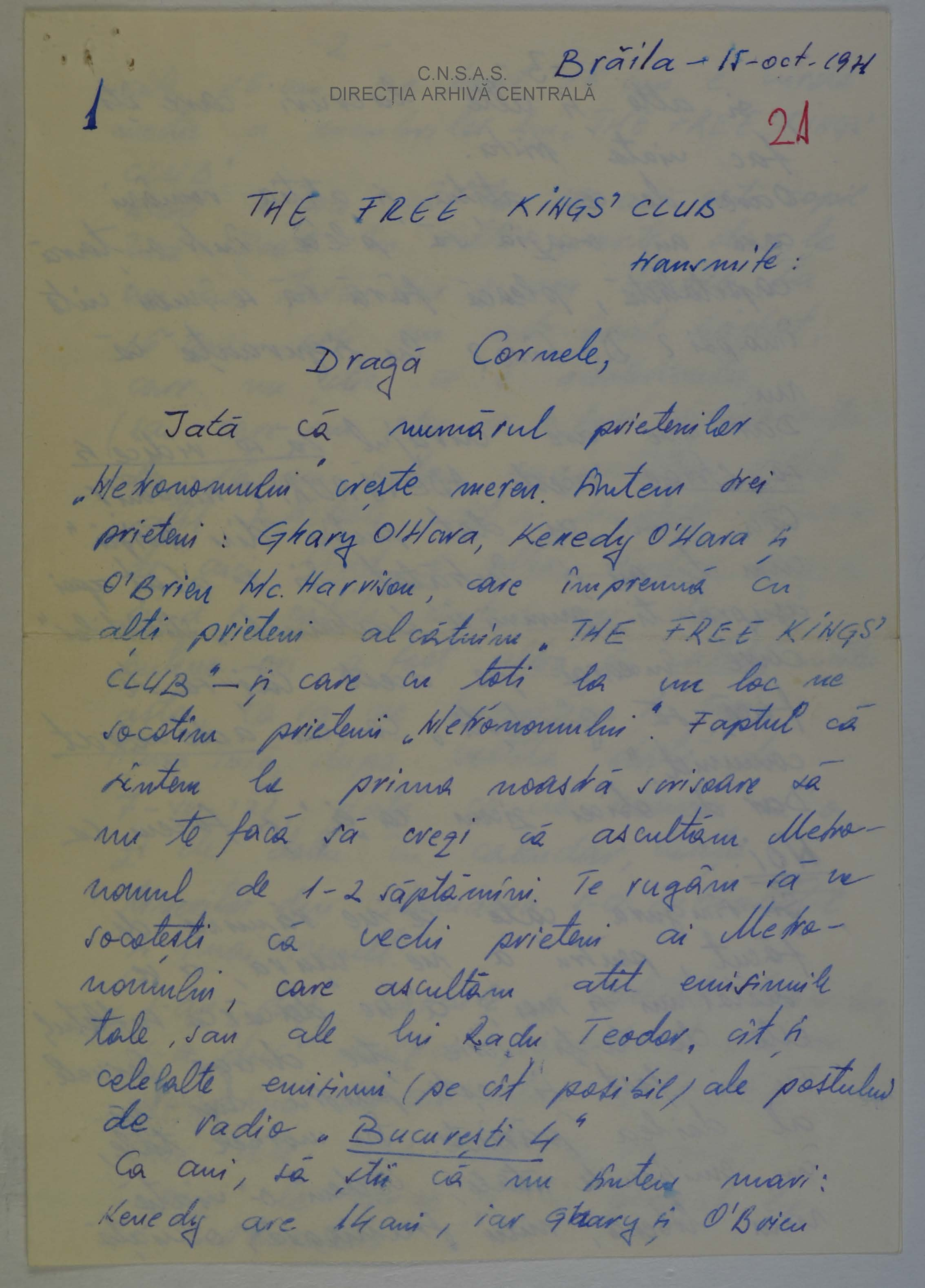 First page of the letter sent to Cornel Chiriac by the 'Club of the Free Kings'