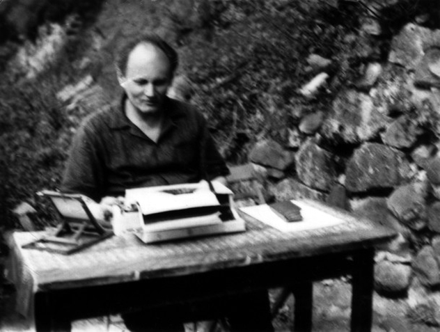 Translator Árpád Göncz busy in working. Visegrád, Hungary early 1970s