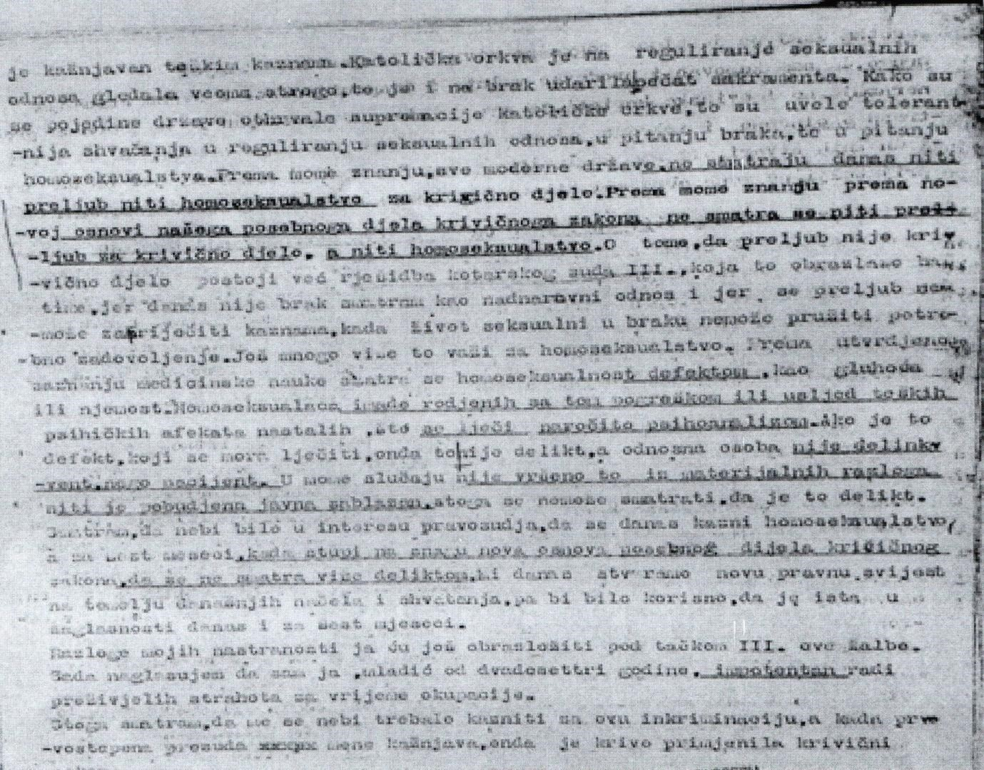 Appeal letter from Branko Vujaklija to the Zagreb District Court, December 1949.