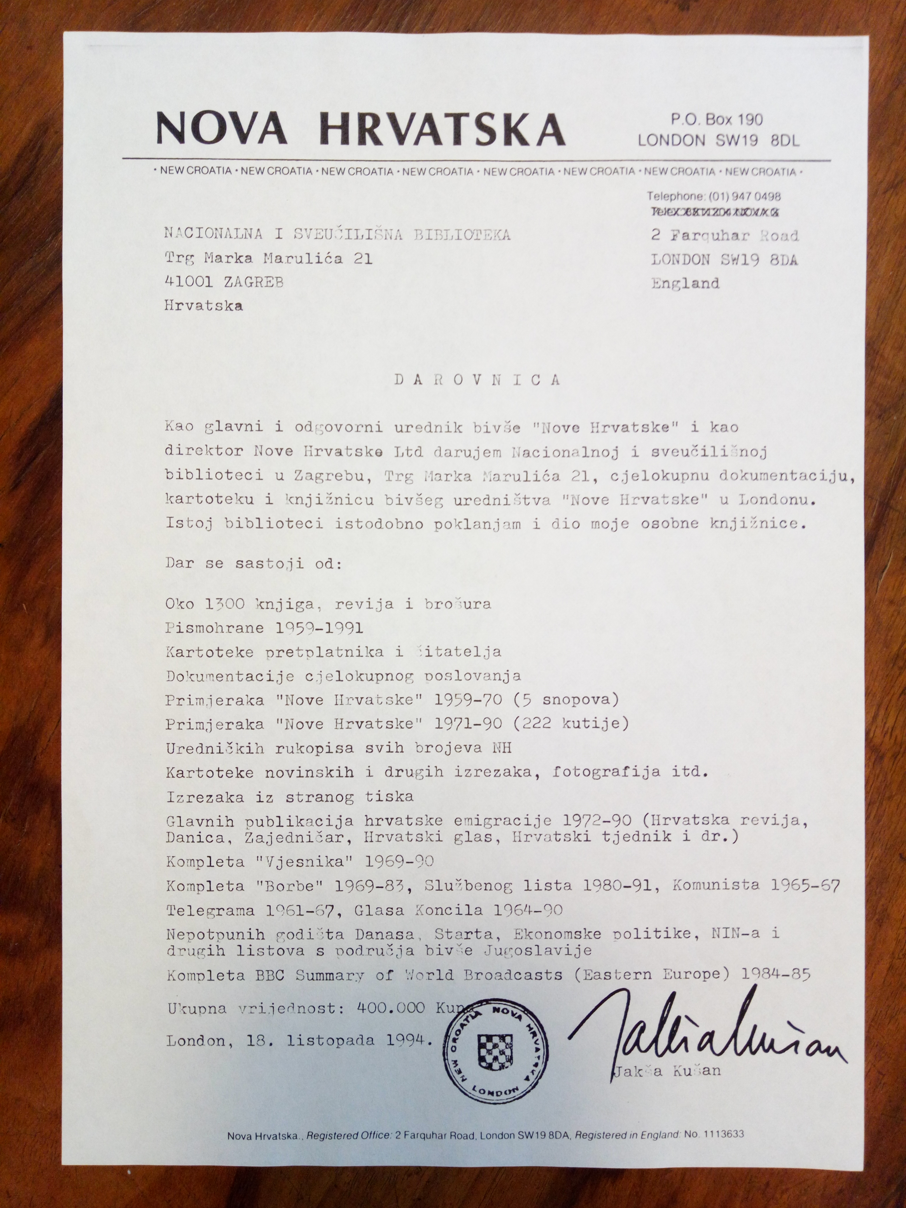 Donation agreement between Jakša Kušan and National and University Library (October 18, 1994)