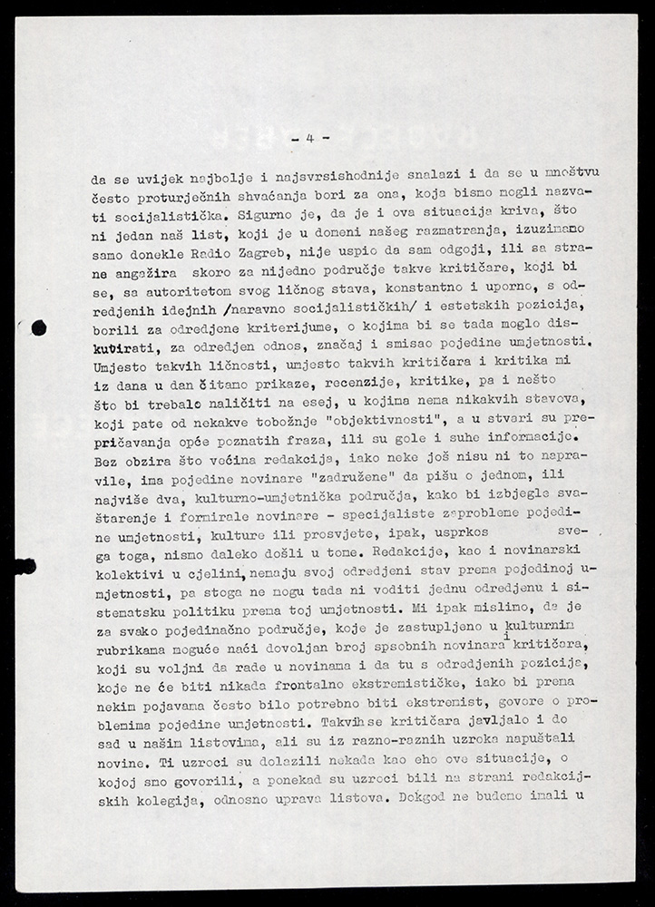 Materials and minutes of the session of the Ideological Commission on the culture sections of daily papers and Radio Zagreb (1961).
