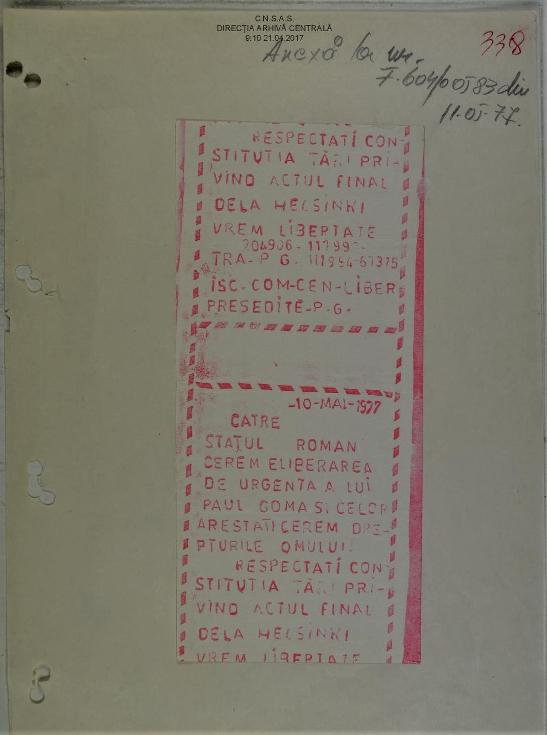 Manifesto for Goma's Release from Prison, 10 May 1977