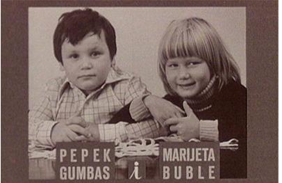 Pepek Gumbas and Marijeta Buble (screenshot from the television documentary film Romantic Problems of Pepek Gumbas and Marijeta Buble (1978), directed by Nikša Fulgosi (SFRY).
