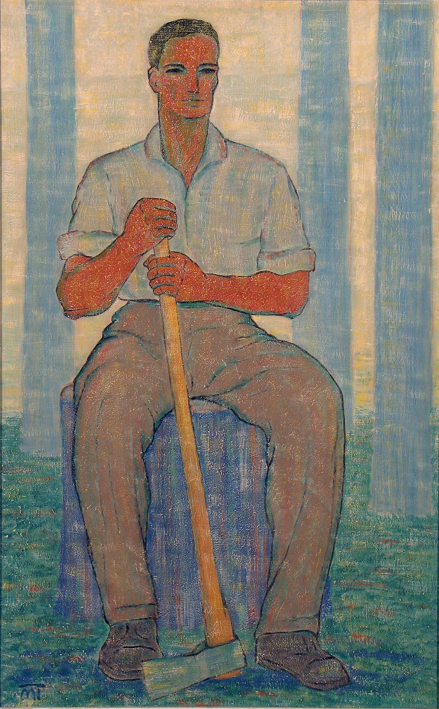 'Woodcutter,' painting of Hans Mattis–Teutsch from late 1940s–early 1950s