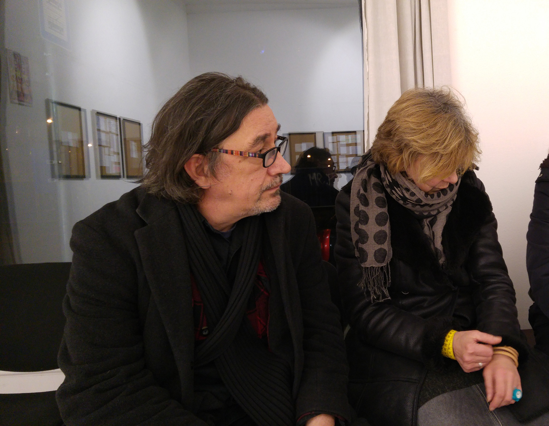 Tibor Várnagy and his wife at an opening in the Liget Gallery, 2018