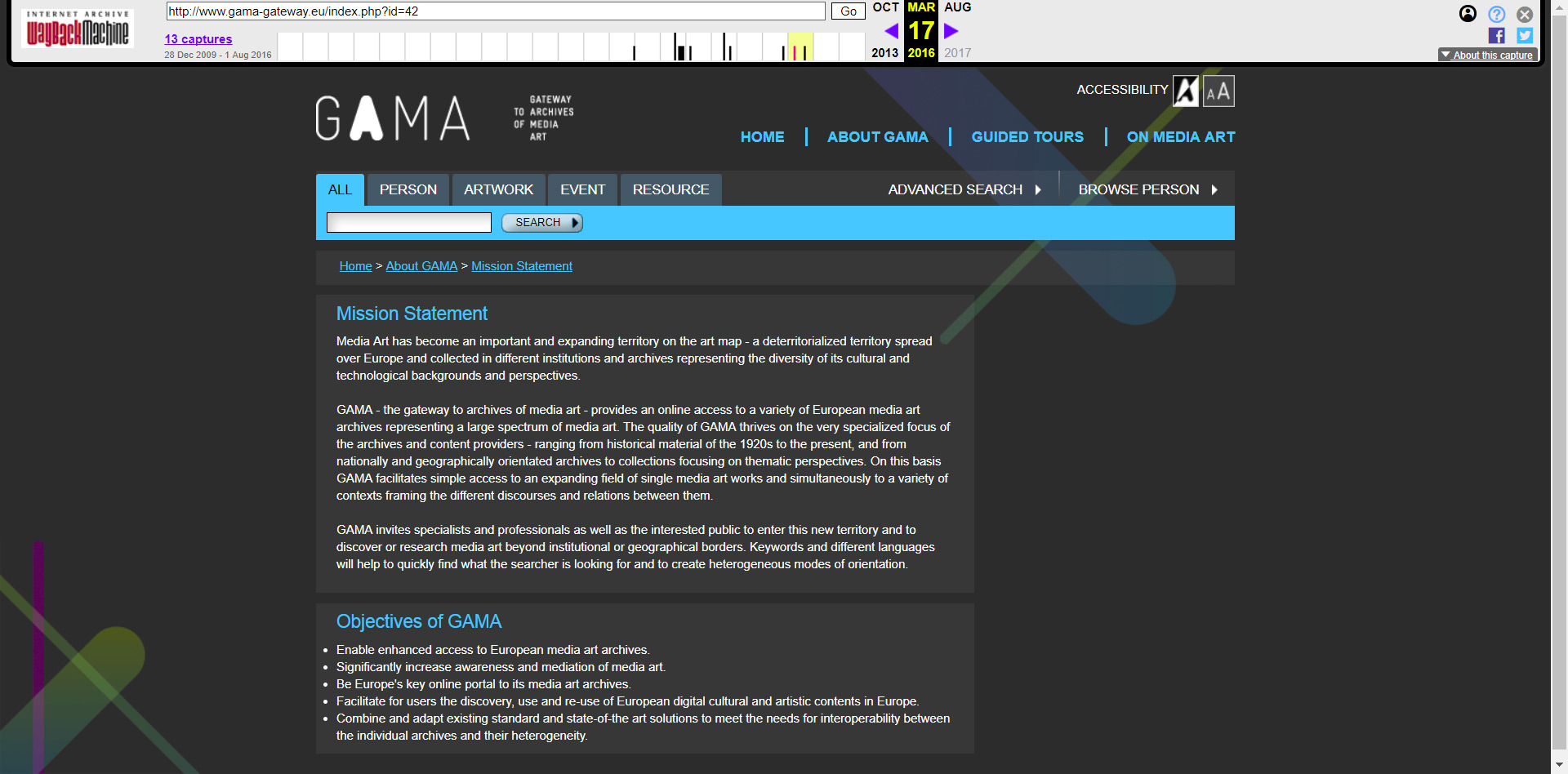 Screenshot of the GAMA portal interface provided by Internet Archive's Wayback Machine.
