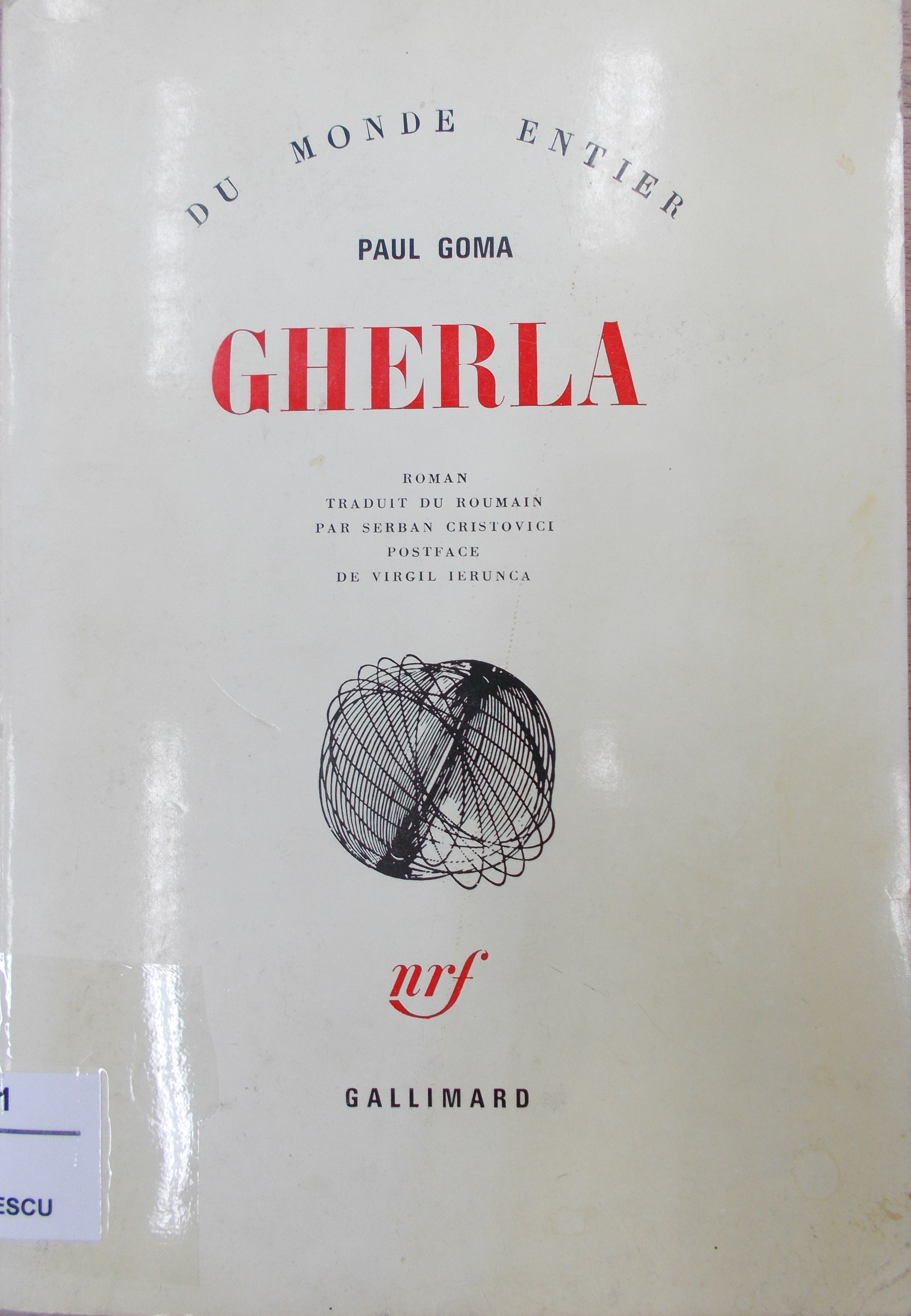 Front cover of the book Gherla by Paul Goma