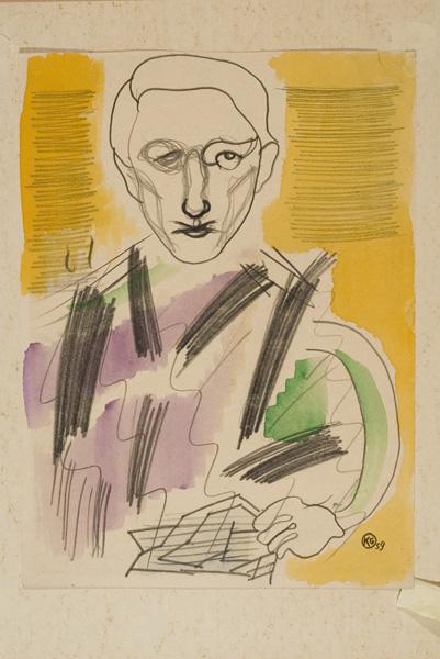 Kovásznai, György: Portrait of dr. Végh, László, mixed media on paper, 32 × 24 cm, unsigned, 1959.