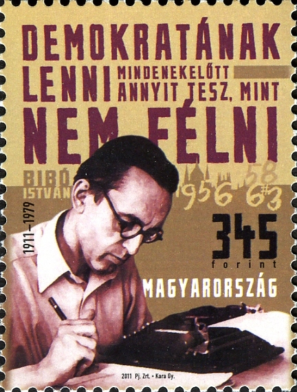 Hungarian memorial stamp issued for István Bibó's centennary of birth, 2011
