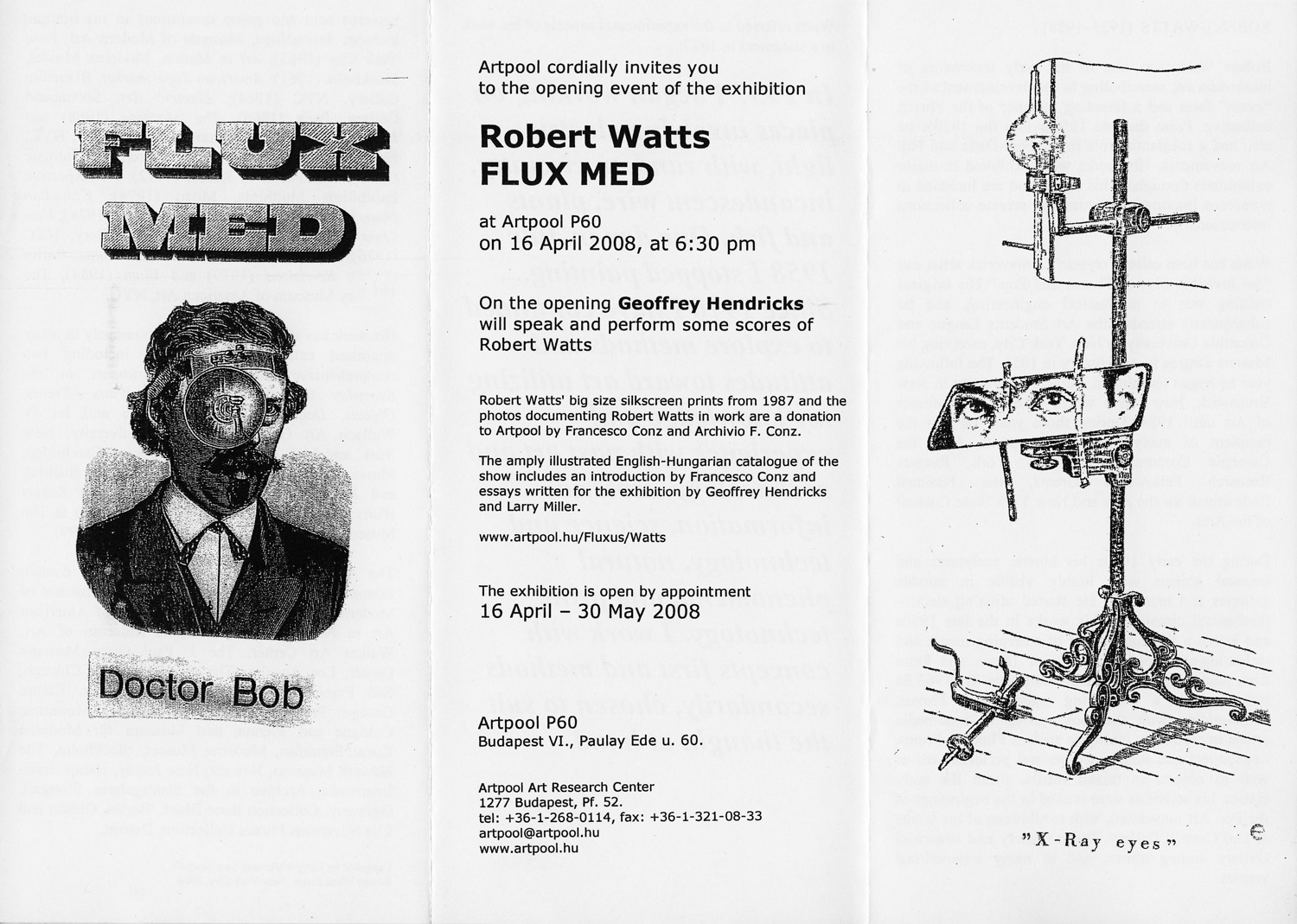 Invitation  for  the exhibition Flux Med (Doctor Bob), Artpool P60, Budapest, 2008 (1st and 2nd page)