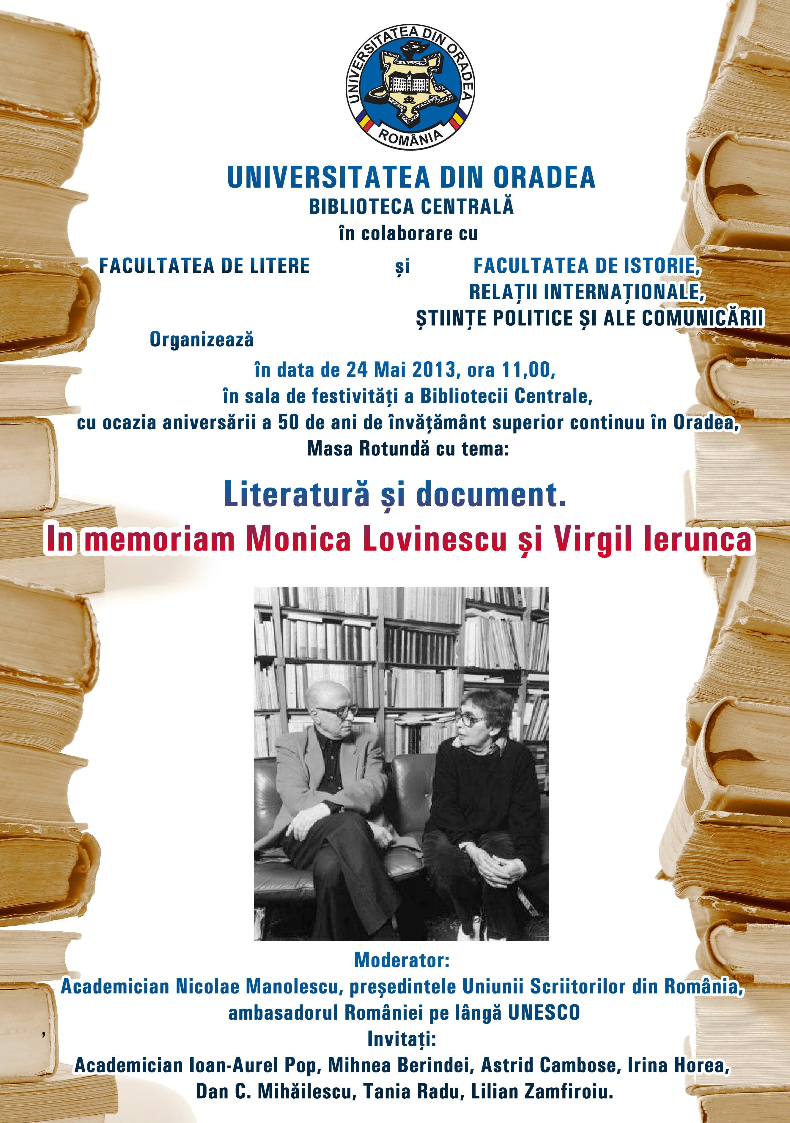 """Afiș anunțând masa rotundă """"Literatură și document"""" în memoriam Monica Lovinescu și Virgil Ierunca, 24 mai, 2013 la Biblioteca Universității din Oradea"""