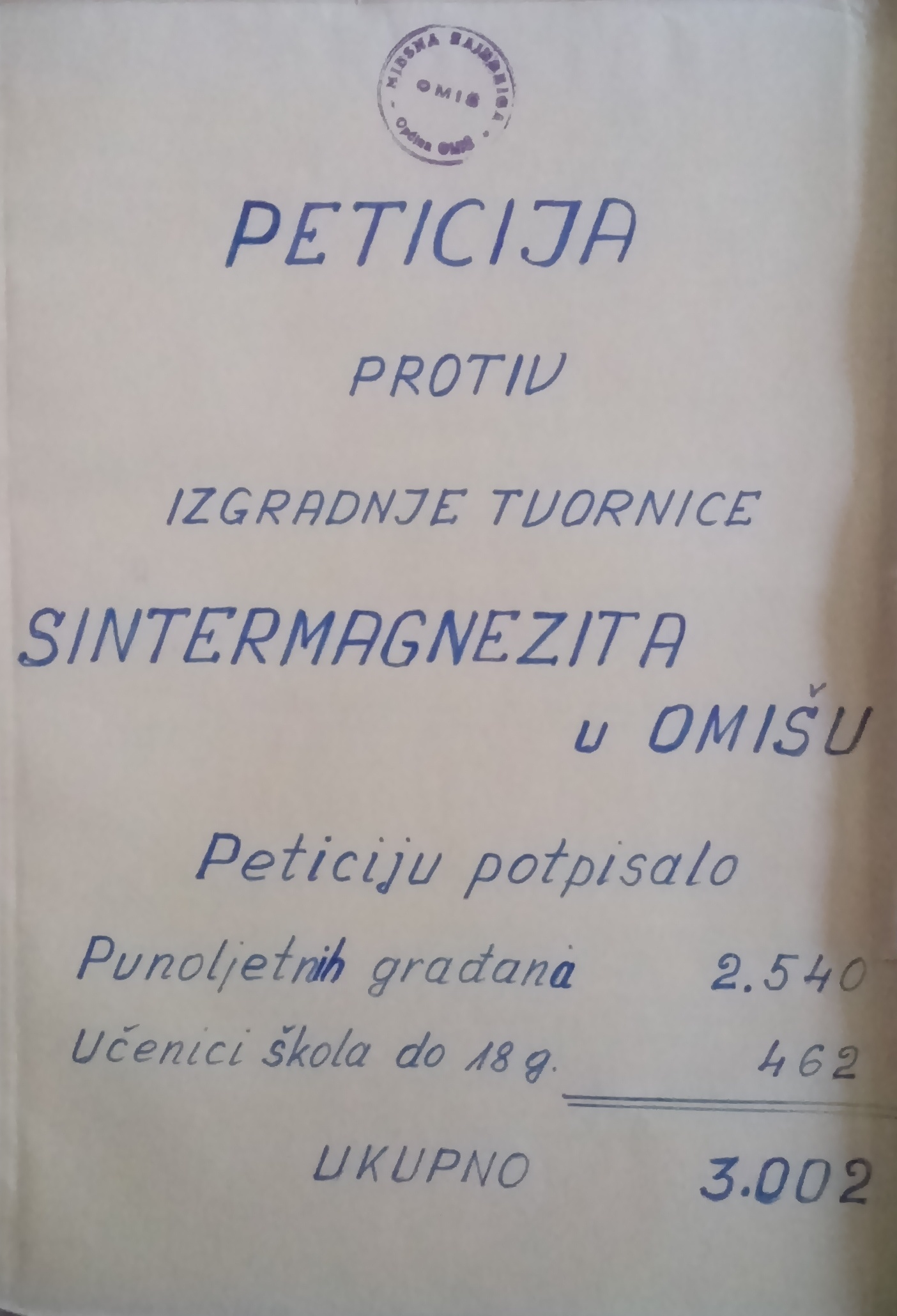 Petition letter against construction of a sintered magnesia factory in Omiš sent to the Parliament of Socialist Republic of Croatia. 12 April 1979. Archival document