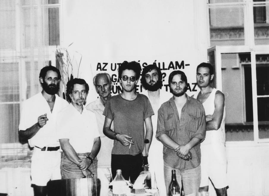 Inconnu group, from left: balról: Tibor Philip, Ferenc Kőszeg, Tibor Pákh, Róbert Pálinkás, Ferenc Kelemen, Péter Bokros, Gyula Erdei, dr. in 1988.