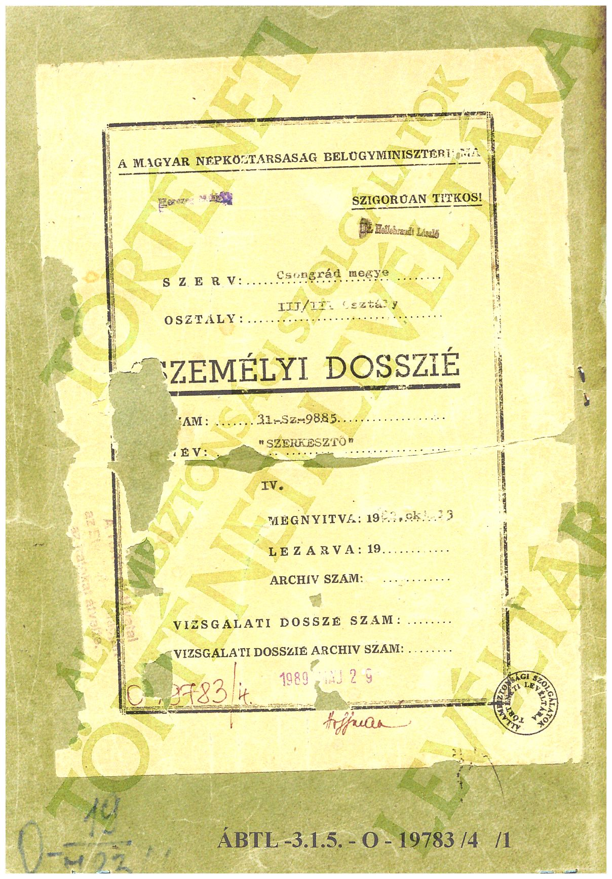 Hungarian Secret Agency dossier from 1978