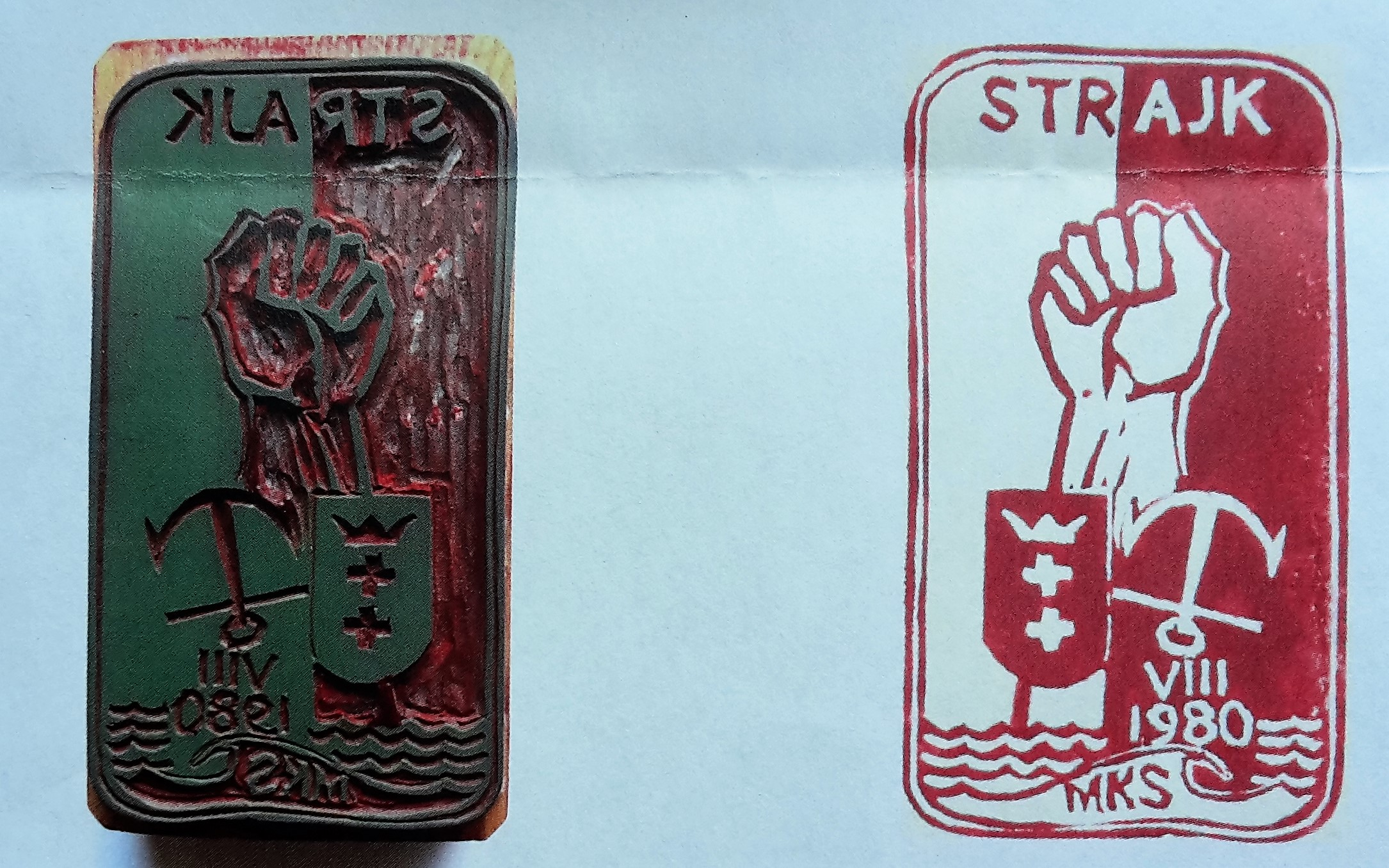 The first seal created by Józef Figiela in August 1980 during the strikes in the Gdansk Shipyard. The picture shows an original linocut and the copy in a form of the stamp.