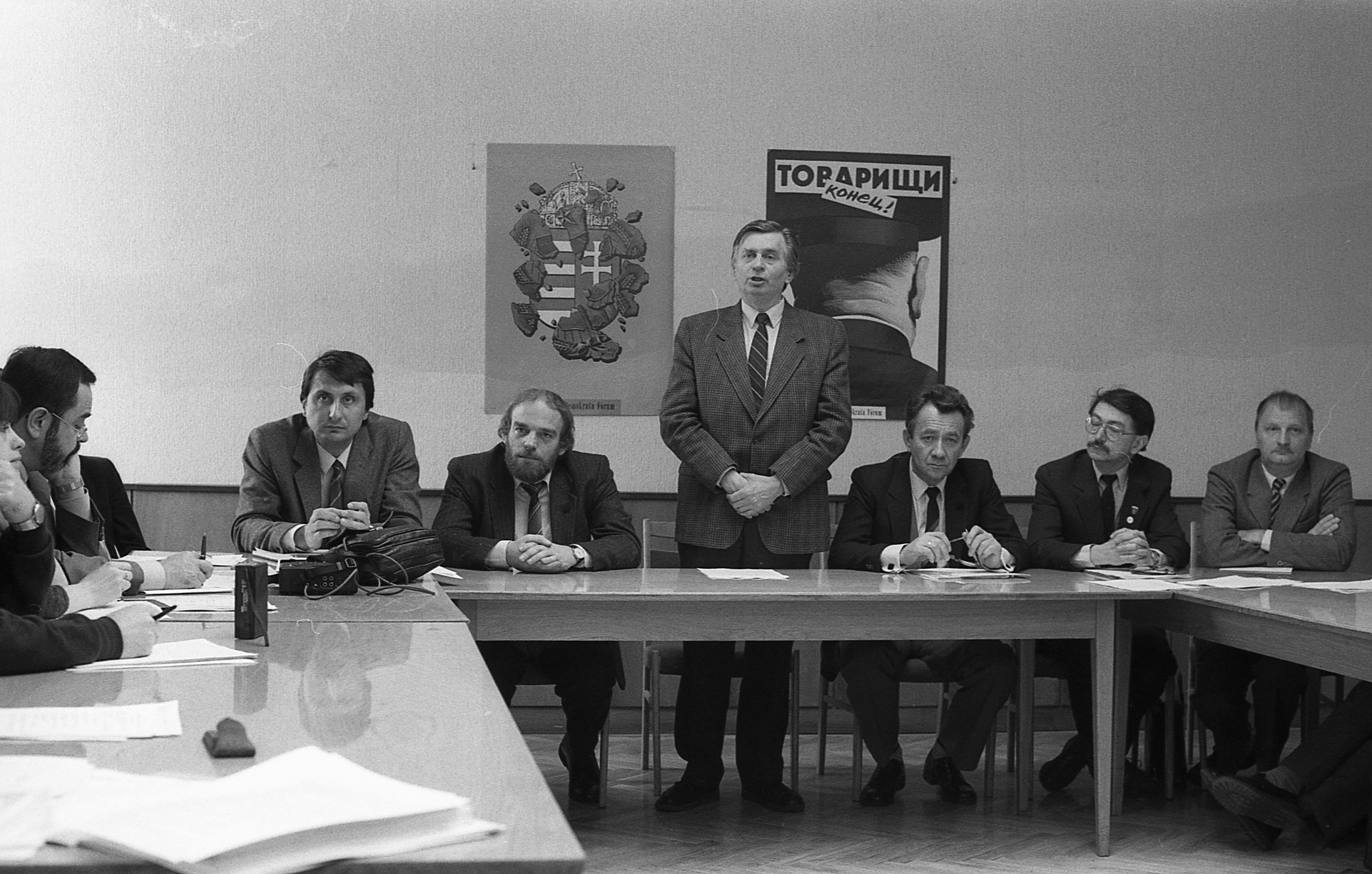 József Antall speaks in the headquarter of the Hungarian Democratic Forum, 1990.