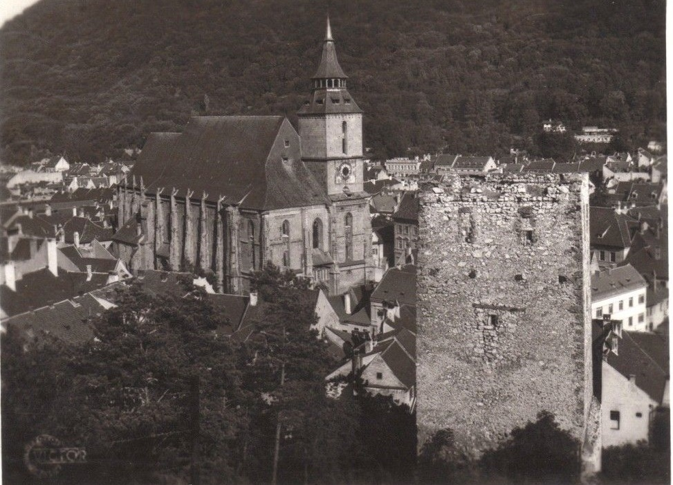 The Black Tower and the Black Church in Braşov: Panoramic view from the Warthe Hill, 1936