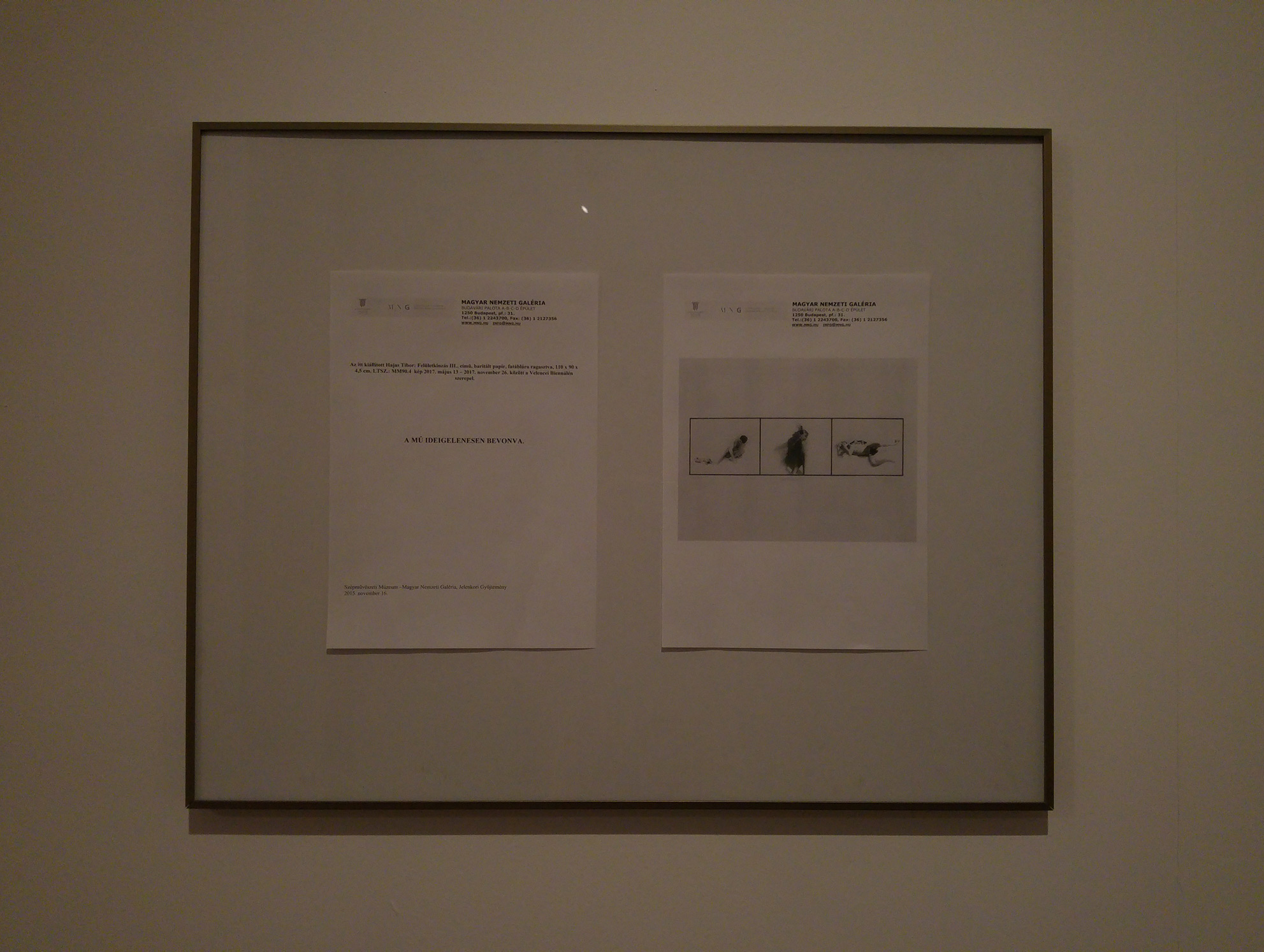 A note instead of the image at the permanent exhibition of the Contemporary Collection of MNG, 2018.