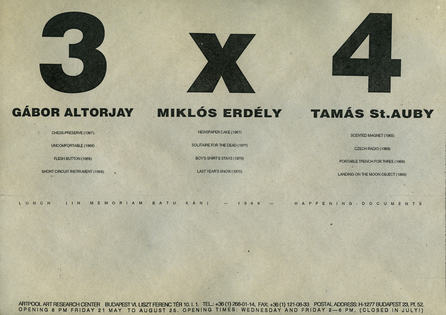 Invitation  for  the exhibition 3 x 4, Artpool Art Research Center, Budapest, 1993 (English and Hungarian version)