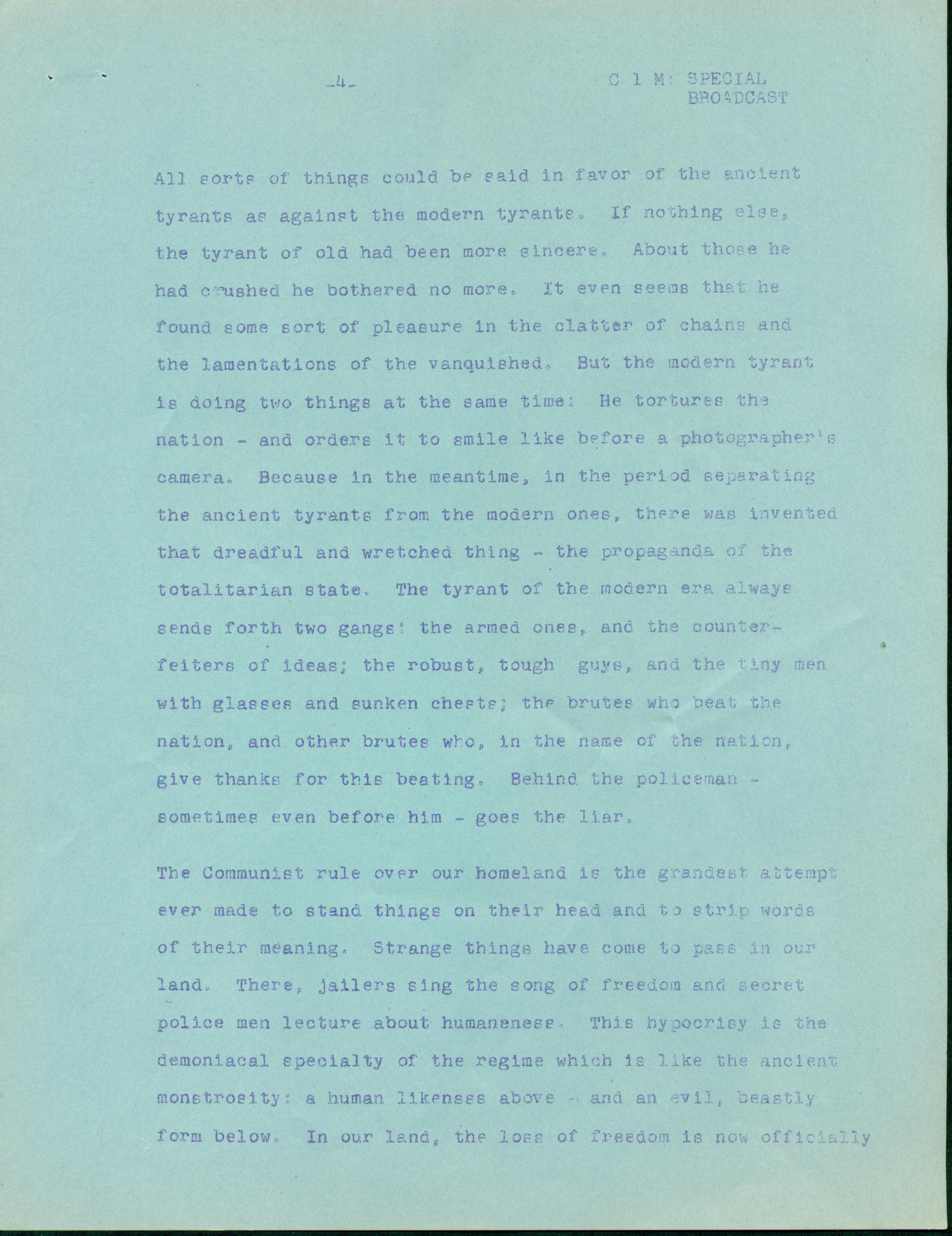 Peroutka, Ferdinand. Inaugural Speech in the RFE, 1951