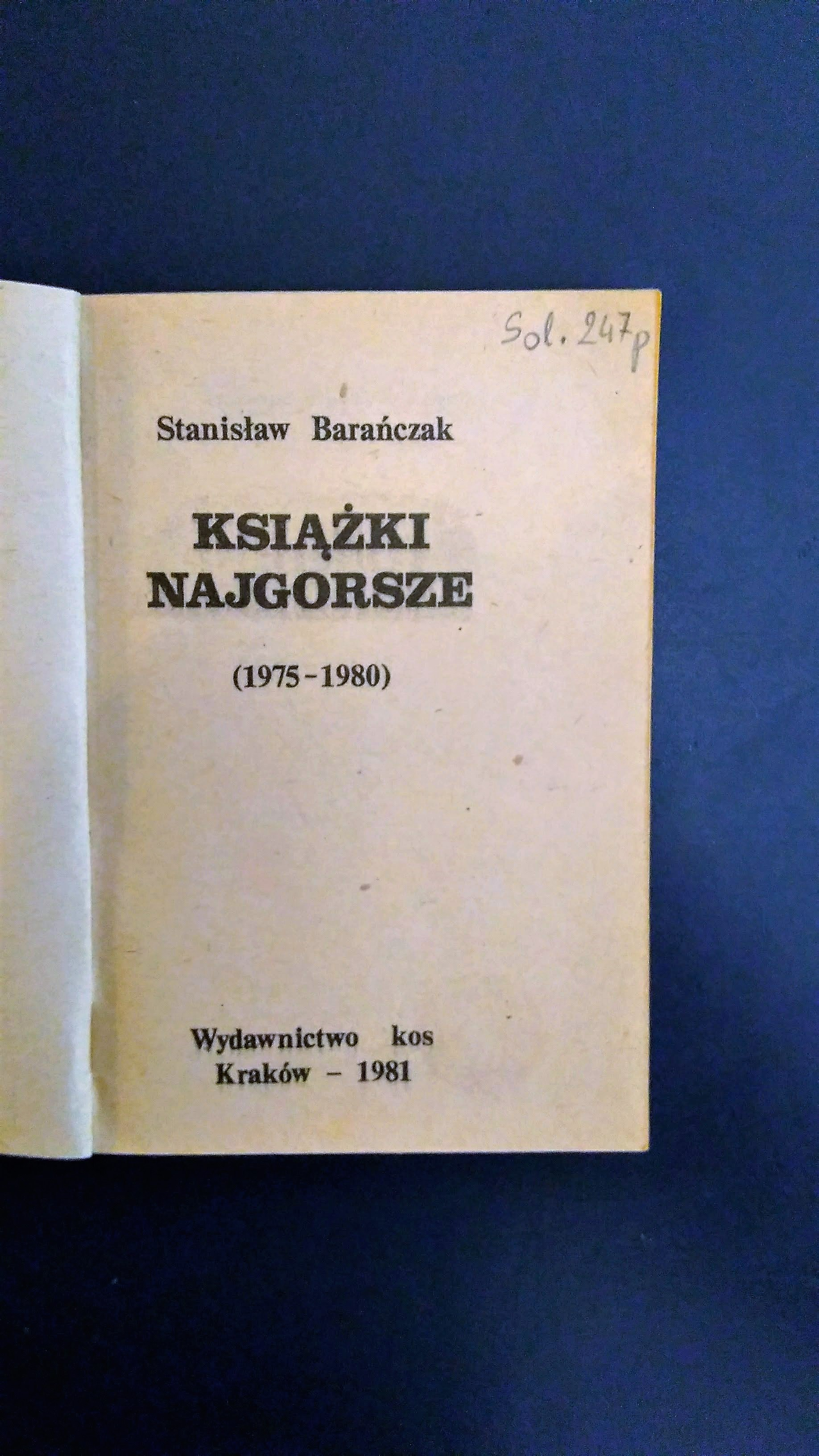 Fist page of the 1981 KOS edition of The Worst Books