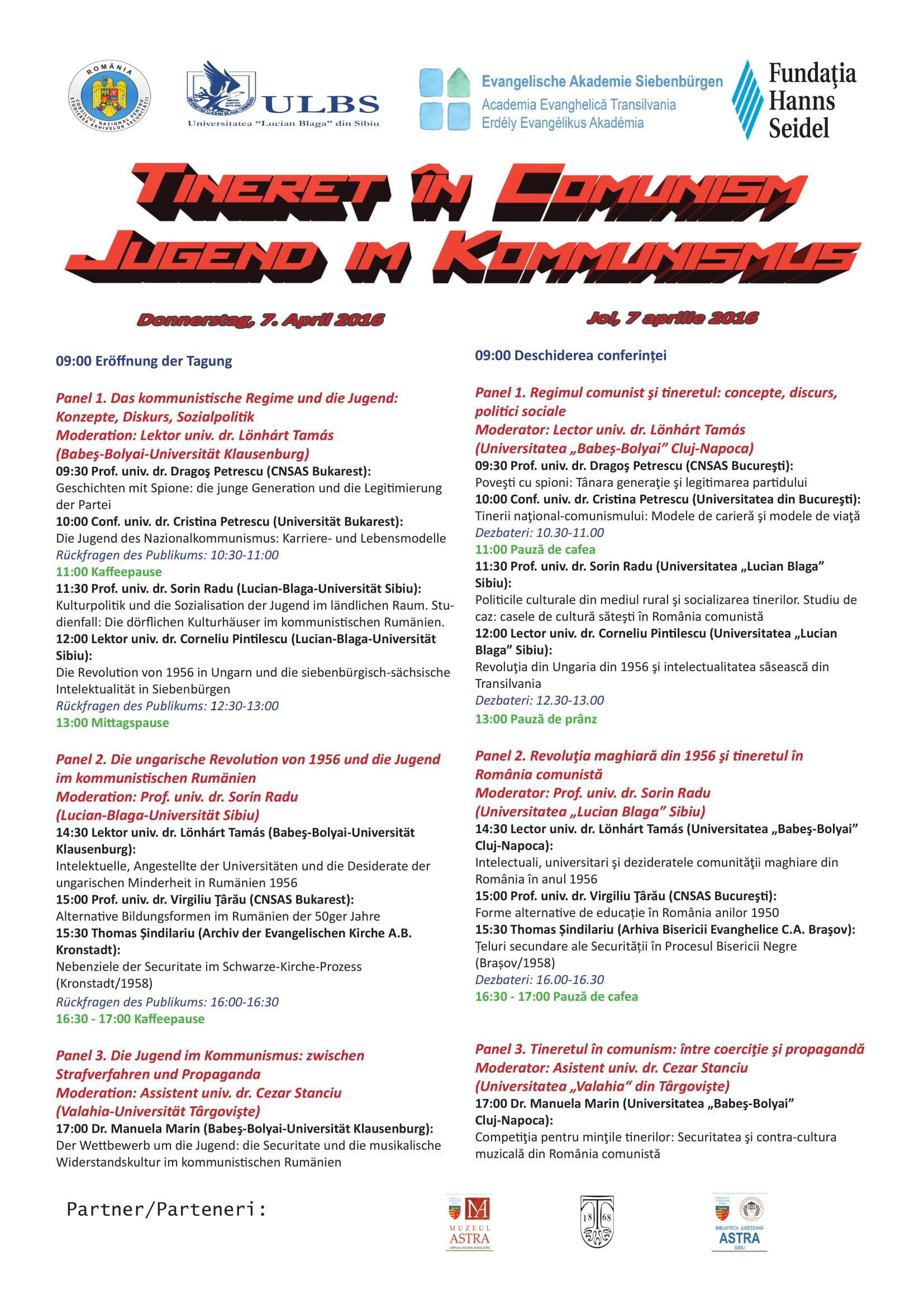 Conference program: Tineret în comunism/Jungend im Kommunismus (Youth during communism), Sibiu, 7-8 April 2016
