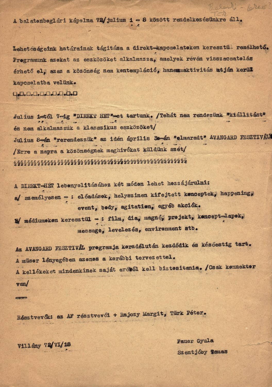 Invitation for Direct Week (Chapel Studio, Balatonboglár, 1972) by Gyula Pauer and Tamás Szentjóby
