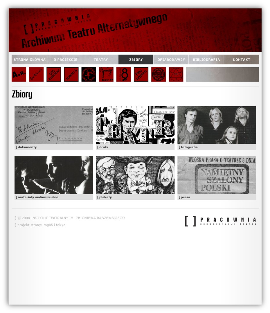 Screenshot of the digital version of the Alternative Theater Archive