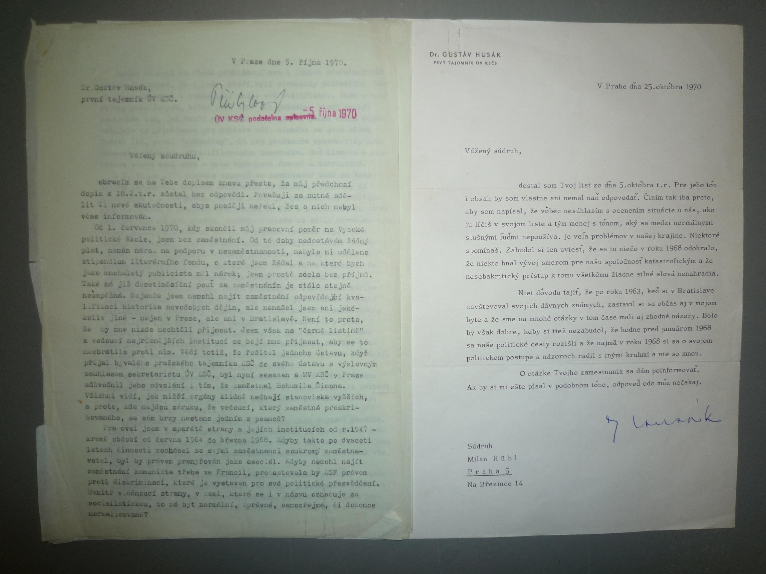 Letter from Milan Hübl to Gustáv Husák, 5 October 1970