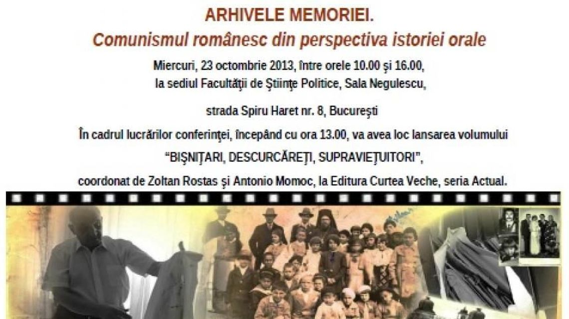 Poster of the conference 'Memory Archives: Romanian communism from the oral history's perspective,' Bucharest, 23 October 2013