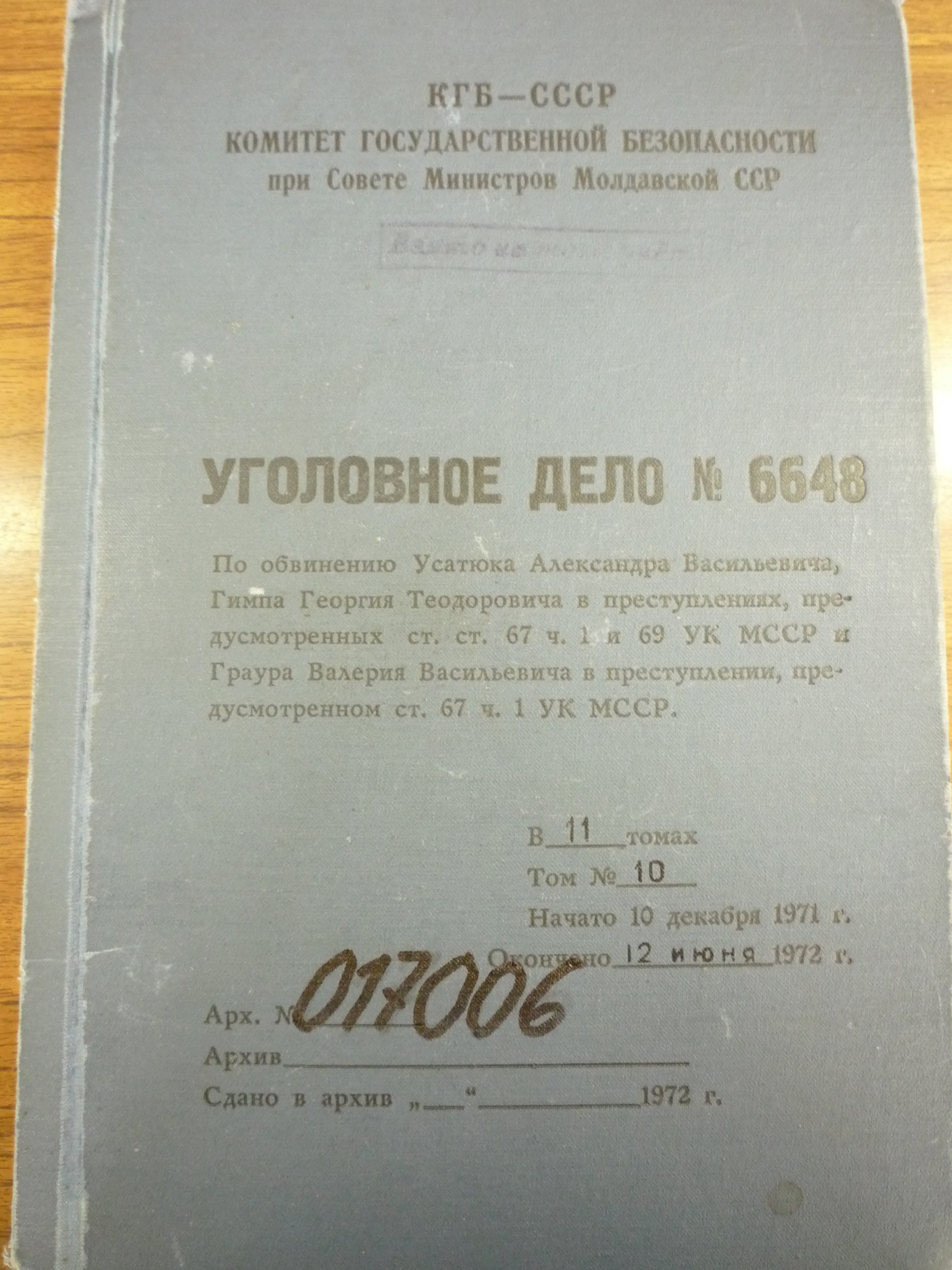 Front cover of the KGB file for the Usatiuc-Ghimpu-Graur case, 1972.