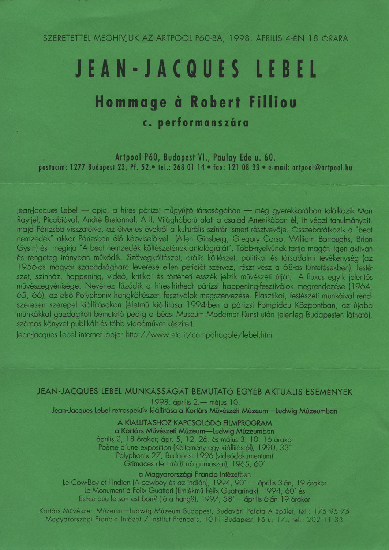 Invitation to Jean-Jacques Lebel's performance, Artpool P60, Budapest, 4 April, 1998