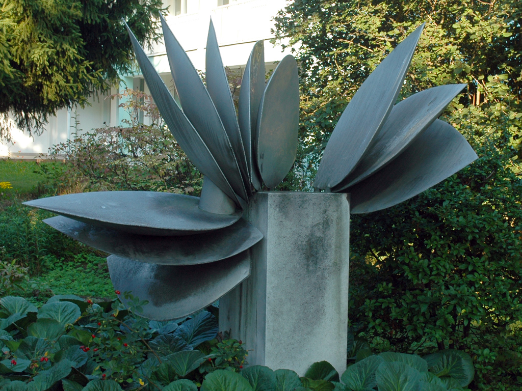 Sculpture in public space, Leaf in motion, Prague 9, by Czech sculptor Eva Kmentová (1973)