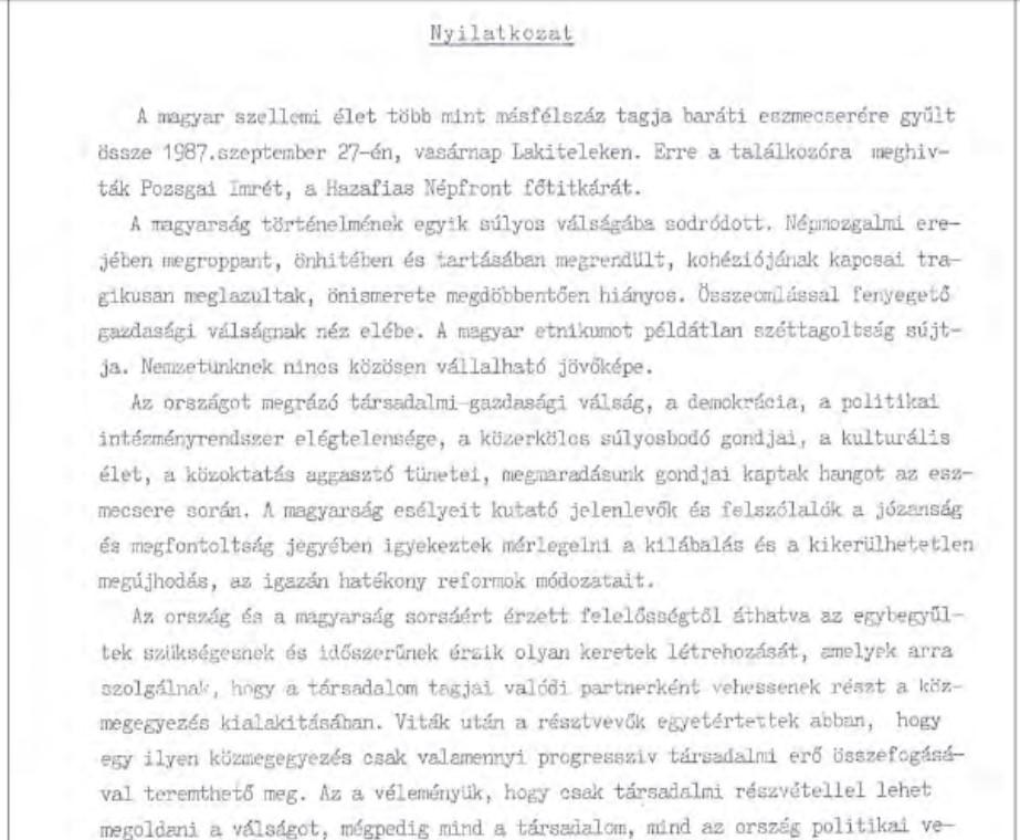 The Lakitelek Declaration, 1987.