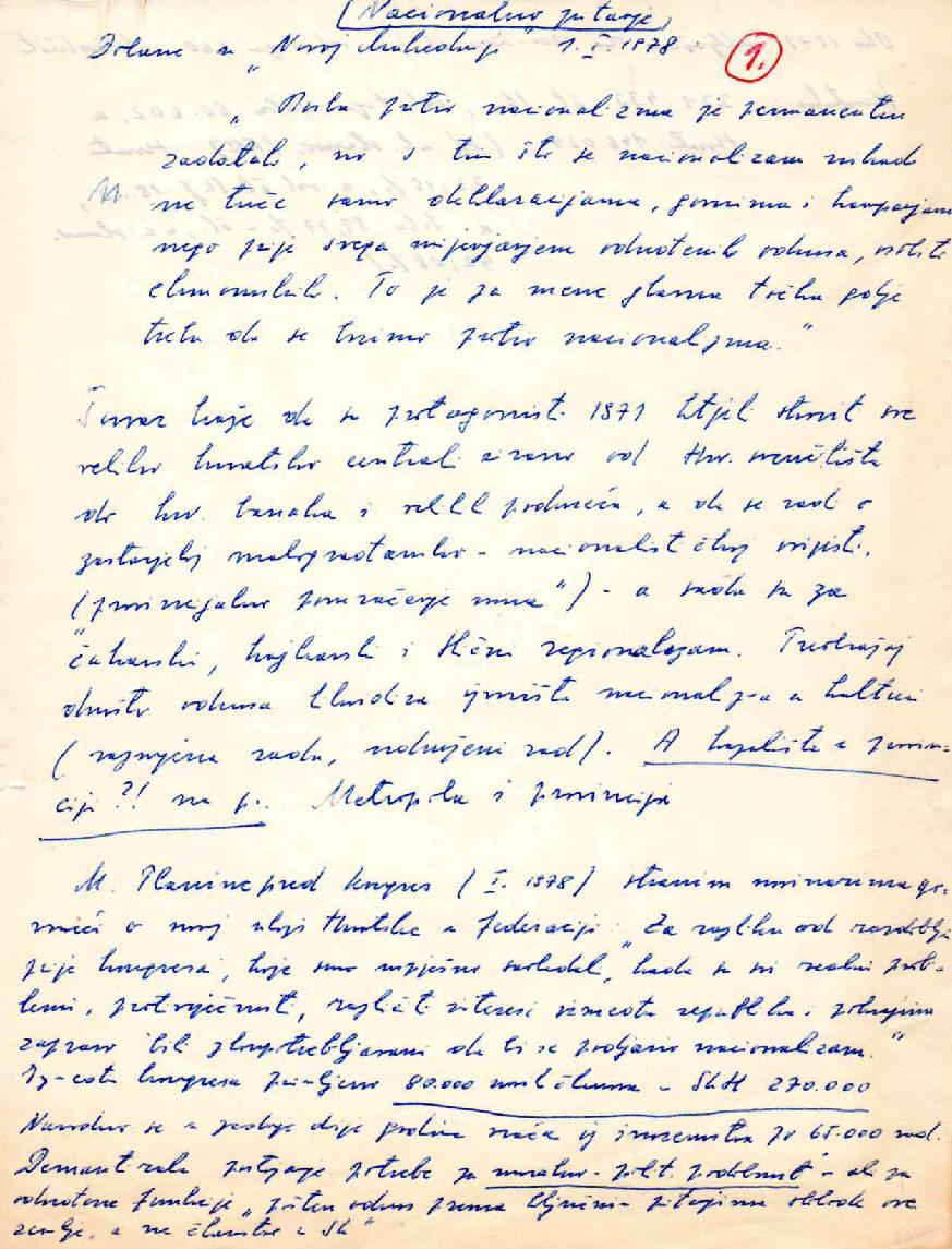 Centre for Democracy and Law Miko Tripalo, Miko Tripalo Personal Papers, 7.1.1.2. Some of my views on the national question, 1978. Manuscript.